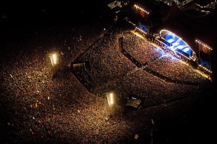 Rihanna koncert på Roskilde Festival 2013. Luftfoto.